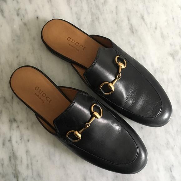 Gucci Princetown Black Leather Slides